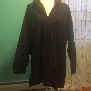 Woman's Plus Size zip-up Rain Jacket with hood.